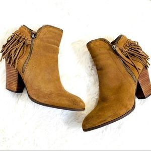 Dolce Vita Fringe Tassel Suede Booties Ankle Boots